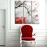 Modern Style Leaf Wall Clock in Canvas 3pcs