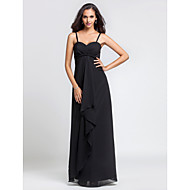 Lanting Floor-length Chiffon Bridesmaid Dress - Black Plus Sizes / Petite Sheath/Column Spaghetti Straps / Sweetheart