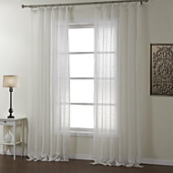 Two Panels White Geometric Polyester Sheer