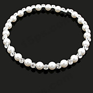 Women's European Style Fashion Shiny Rhinestone  Imitation Pearl Alloy Necklace
