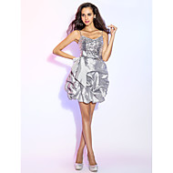 Homecoming Cocktail Party/Prom/Holiday Dress - Silver Plus Sizes A-line/Princess V-neck Short/Mini Taffeta/Sequined