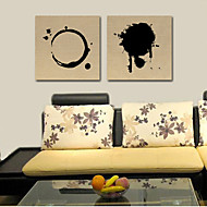 Stretched Canvas Art Abstract Black Pattern Ring and Round Set of 2
