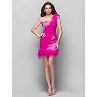 Homecoming Cocktail Party/Homecoming/Prom Dress - Fuchsia Plus Sizes A-line/Princess One Shoulder Short/Mini Chiffon/Stretch Satin