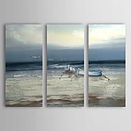 מצויר ביד L ו-scape / נוף אבסטרקט שלושה פנלים בד ציור שמן צבוע-Hang For קישוט הבית