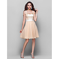 Homecoming Wedding Party/Cocktail Party/Homecoming Dress - Champagne Plus Sizes A-line/Princess Sweetheart/Straps Knee-length Chiffon