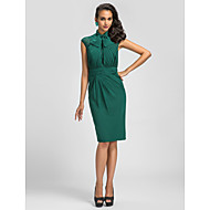 Cocktail Party Dress - Dark Green Plus Sizes Sheath/Column High Neck Knee-length Chiffon