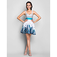 Homecoming Cocktail Party/Homecoming/Prom/Sweet 16 Dress Plus Sizes A-line/Princess Straps Short/Mini Chiffon/Sequined