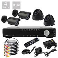 Muy bajo precio de 4 canales D1 en tiempo real H.264 CCTV DVR Kit (4pcs 420TVL Cámaras CMOS)
