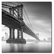 Stretched su tela Paesaggio Manhattan Bridge 1 di Moises Levy
