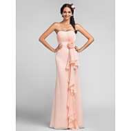 Lanting Bride®Sheath / Column Sweetheart Floor-length Chiffon with Draping / Flower(s) / Cascading Ruffles