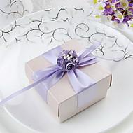 Quader zugunsten Box mit lila Schleife und Blumen (Set von 30)