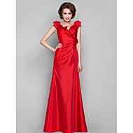 Dress - Ruby Sheath/Column V-neck Floor-length Taffeta