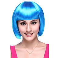 Senza cappuccio di alta qualità sintetico breve rettilineo Blu Parrucche del partito