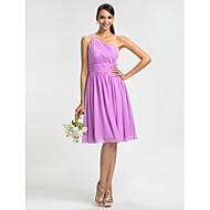 Dress - Lilac / Royal Blue / Ruby / Champagne / Grape Plus Sizes / Petite Sheath/Column One Shoulder Knee-length Chiffon