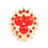 Charming Alloy With Rhinestone/Resin Flower Shaped Brooch(Random Color Delivery)