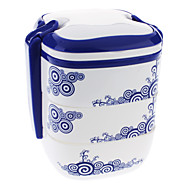 Blomstermønster Three Layers Portable Meal Lunch Box