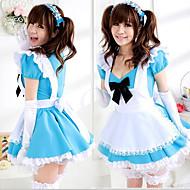 Cute Girl White Apron Blue Dress Maid Uniform