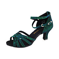 Non Customizable Women's Dance Shoes Latin/Ballroom Sparkling Glitter Flared Heel Green/Fuchsia