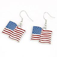 עגילי נשים אמריקאי סגסוגת עיצוב מגניבים Flag