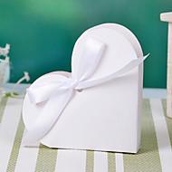 Şerit ilmek ile Kalp Tasarım Beyaz Favor Kutu (12 set)