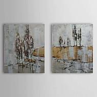 מצויר ביד מופשט / נוף אבסטרקט שני פנלים בד ציור שמן צבוע-Hang For קישוט הבית