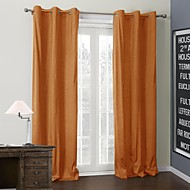 TWOPAGES® Two Panels  Solid Bright Orange Coating Thermal Curtain