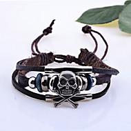 Bracelet Charmes pour Bracelets Bracelets en cuir Cuir Forme de Tête de Mort Mariage Regalos de Navidad Bijoux Cadeau Brun