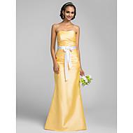 Floor-length Taffeta Bridesmaid Dress - Daffodil Plus Sizes Trumpet/Mermaid Strapless