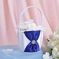 Flower Basket In Satin With Rhinestones And Sash (More Colors) Flower Girl Basket