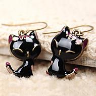 Women's 2013 Black Enamel cute little cat alloy earring E294