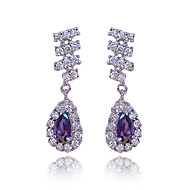 Beautiful Purple Platinum Plated With Oval Shape Cubic Zirconia Earrings