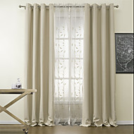 Two Panels Solid Spotless Blackout Curtains Drapes with Sheer Set