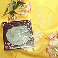 Třešňové květy matné sklo tácky (sada 2)