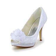 FemininoSaltos / Peep Toe-Salto Agulha-Marfim / Branco-Cetim / Cetim com Stretch-Casamento
