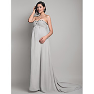 TS Couture® Formal Evening Dress - Open Back Maternity Sheath / Column Strapless / Sweetheart Sweep / Brush Train Chiffon with Beading / Draping /