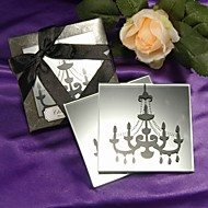 """""""Chandelier"""" Mirrored Glass Coaster Favors(set of 2)"""