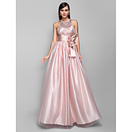 Formal Evening/Prom/Military Ball Dress - Pearl Pink Plus Sizes A-line Jewel Floor-length Stretch Satin/Tulle