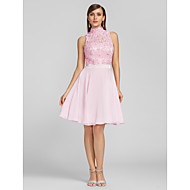 TS Couture® Cocktail Party / Prom /  Dress - Blushing Pink Plus Sizes / Petite A-line High Neck Knee-length Chiffon / Lace