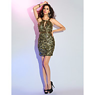 Cocktail Party/Holiday Dress - Multi-color Sheath/Column Jewel Short/Mini Sequined