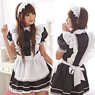 Cute Girl Black and White Ruffles Apron Maid Uniform