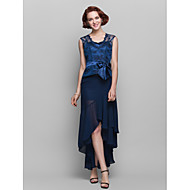 Lanting Sheath/Column Plus Sizes / Petite Mother of the Bride Dress - Dark Navy Asymmetrical Sleeveless Chiffon / Lace