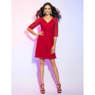 Homecoming Cocktail Party/Holiday Dress - Ruby Plus Sizes Sheath/Column V-neck Knee-length Chiffon/Lace