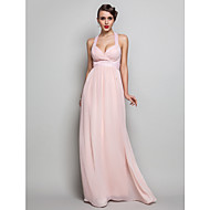 TS Couture® Formal Evening / Prom / Military Ball Dress - Pearl Pink Plus Sizes / Petite Sheath/Column V-neck Floor-length Chiffon
