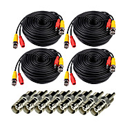VideoSecu 4 Pack 100ft(30M) Video Power Cables Extension Wires Cords with Free BNC RCA Connectors