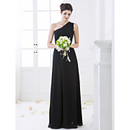 Bridesmaid Dress Floor Length Chiffon Sheath Column One Shoulder Dress (663648)