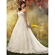 A-line/Princess Plus Sizes Wedding Dress - Ivory Court Train Sweetheart Tulle