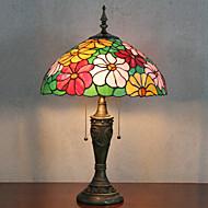 Flower Design Bordslampa, 2 ljus, Tiffany Resin glasmålning