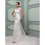 Lanting Sheath/Column Wedding Dress - Ivory Chapel Train Jewel Tulle