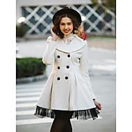 TS Swing Mesh Hem Wool Blend Coat