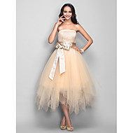 TS Couture Cocktail Party / Holiday Dress - Champagne Plus Sizes / Petite A-line Strapless Tea-length Tulle